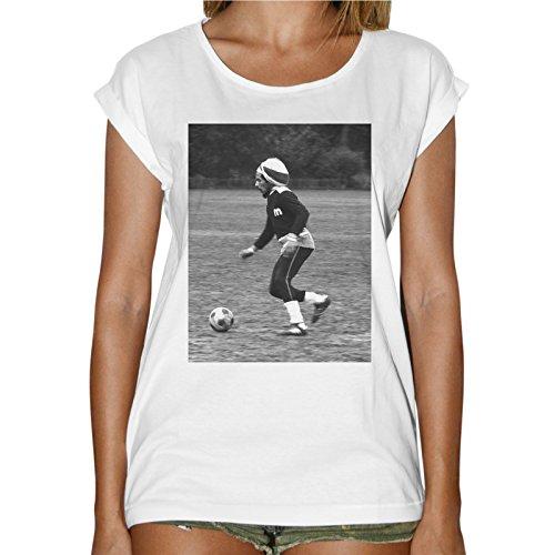 T-Shirt Donna Fashion Bob Marley Gioca A Pallone Play Soccer - Bianco