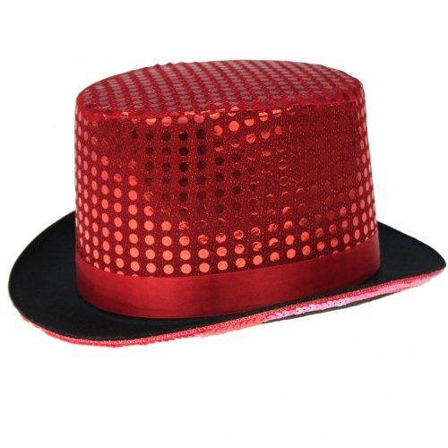 GYD Zylinder Hut Pailletten für Erwachsene Chapeau Zylinderhut (Rot) (Pailletten Hut Rot)