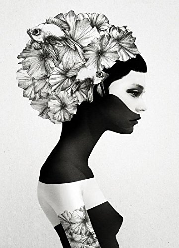 """JUNIQE® Leinwandbild 60x90cm Schwarz & Weiß Fantasy - Design """"Marianna"""" (Format: Hoch) -..."""