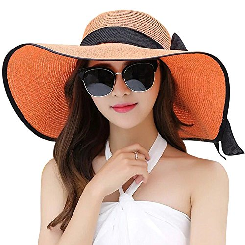 DRESHOW Damen Schlaff Strand Hut für Frauen Große Krempe Stroh Sonnenhüte Aufrollen Packbar UPF 50+ (Orange, Einheitsgröße) -