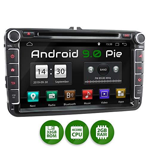 XOMAX XM-11GA Autoradio passend für VW, SEAT, Skoda mit Android 9.0 I 8 Zoll / 20,3 cm Touchscreen I GPS Navigation I DVD, CD, USB, SD I Support: WiFi 4G, DAB+, OBD2 I Bluetooth