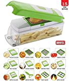ANVEL 20 in 1 Plastic High-Grade Rust-free Stainless Steel Blades Vegetable Choppers for Kitchen, Large (Green) - 20 Different Tools