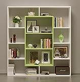 Homidea Venus Bücherregal - Standregal - Büroregal - Raumteiler für Wohnzimmer/Büro in modernem Design (Weiß/Grün)
