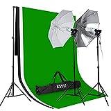 ESDDI Set Estudio Fotografico, Estudio Croma, 2 Paraguas Fotografia , 3 Fondo Fotografia, 2 Tripode, 2 Portalampara, 4 Bombilla 85W, 1 Bolsa Portatil