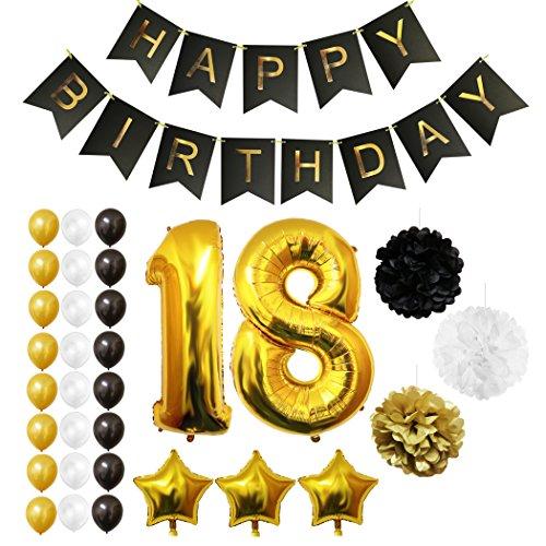 18. Geburtstag Luftballons Happy Birthday Banner Party Zubehör Set & Dekorationen von Belle Vous - Folienballons für den 18. Geburtstag ? Gold, Weiß & Schwarz Latex-Ballon-Dekoration - Dekor für alle (Zubehör Superhelden)