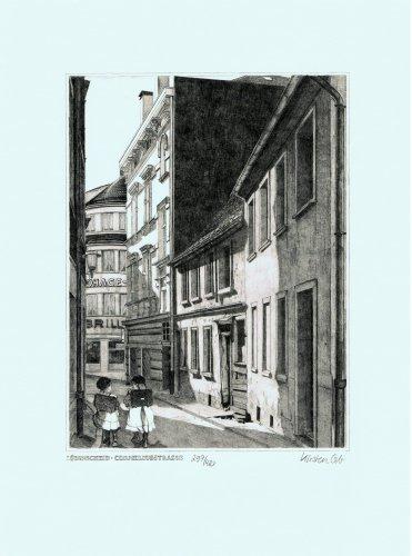 Lüdenscheid Corneliusstrasse, Leinwanddruck, Kunstgrafik, Radierung, Kunstdruck (Bilder Radierung,)