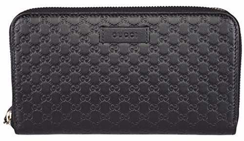 95fac32e2bb Gucci Women s Leather Micro GG Guccissima Zip Around Wallet (Black)