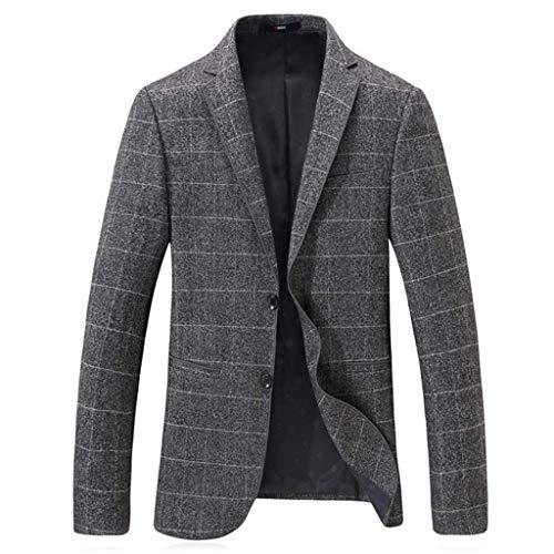 Qinhanjia Sportjacke für Herren Blazer Plaid Business Jacken Zwei-Knopf-Freizeitanzug Mäntel Übergröße, Slim Fashion Blazer (Grau, L) -