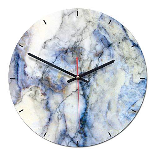 Wanduhr Moderne Einfache lautlos Wanduhren Marmor Design 28cm Für Wohnzimmer Büro Küchen Lounge Klassenraum ALS Geschenk (Blau)
