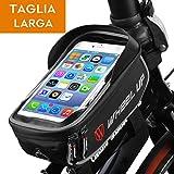 Borsa da manubrio per bici, ieGeek porta Phone / GPS da bicicletta con TPU schermo di tocco ad alta sensibilità da 6 pollici, borsa telaio bici impermeabile da viaggio per iPhoneX / iPhone 8 Plus / Galaxy Note 8 / S8 / Huawei Honor, Nero e Grigio