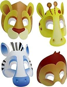 """Anniversaire Kermesse - Pack de 8 Masques en Carton - Déguisement Enfant - """"Safari"""""""