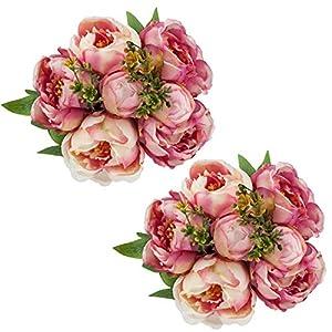 SHACOS – Juego de 2 hortensias artificiales de seda para hortensias de 21 pulgadas de alto, hortensias grandes para…