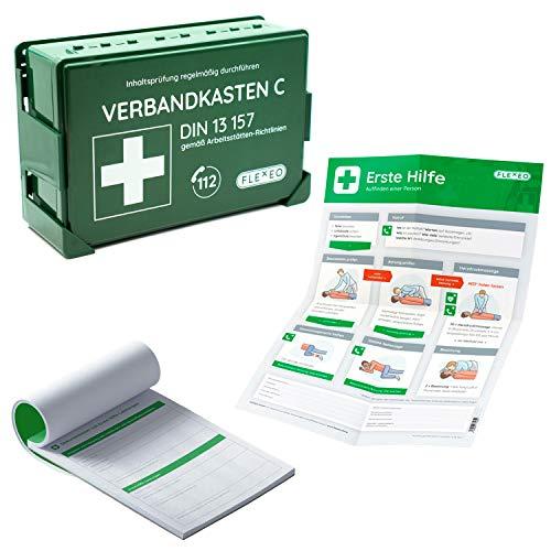 Betriebsverbandkasten, Verbandkasten DIN13157, grün - Komplett-Set mit Meldeblock und Erste-Hilfe Anleitung