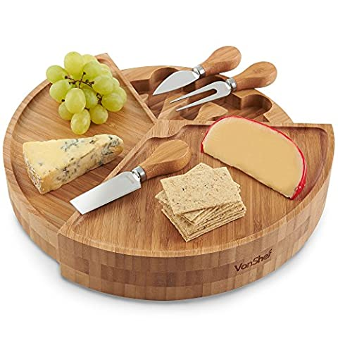 VonShef Round Cheese Board - 3 Tiered Fold Out Bamboo Wood Design & Specialist Knife Set