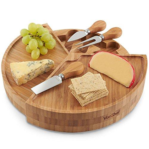 VonShef 100% Bambus Holz abgestuftes Käsebrett Ausklappen und 3Stück Specialist Messer-Set