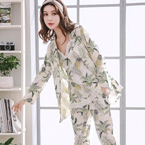 ZLR Pure Cotton Pyjamas dreiteilige Set Frühling Herbst Saison langärmelige Dame Sexy Pyjamas aus reiner Baumwolle Hause Kleidung Winter Bademantel Set ( größe : L ) (Thermische Langärmelige)