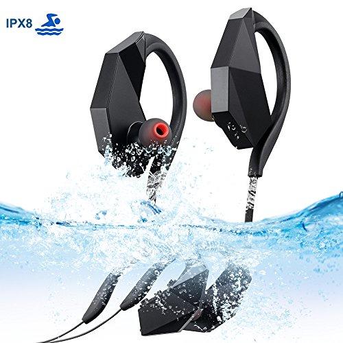 UGI® IPX8 Waterproof Schwimm Ohrhörer, Sport Wireless Bluetooth Kopfhörer zum Schwimmen, Laufen, MP3 Wireless, Eingebauter 8Gb Speicher, 9 Stunden Wiedergabe Noise Cancelling Headsets zum Schwimmen