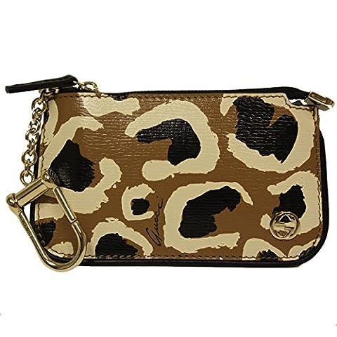Gucci Tan Leopard Leather Clip Key Case Wallet 233183