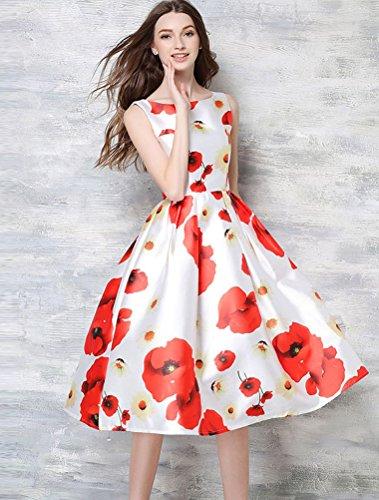 MatchLife Femme Nouveau Sans Manches Fête Floral Cocktail Robe Blanc 2