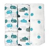 Mussole di Emma & Noah, pacco da 3, 100% cotone, 80 cm x 80 cm, bambina bavaglini comodi e soffici, ideale come copertine neonato di stoffa, pannolini lavabili, copertine per carrozzina e culla