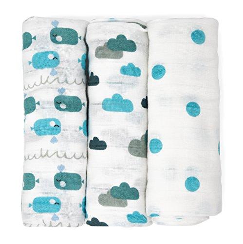 Muselinas para bebés de Emma & Noah, paquete de 3, 100% algodón, 80 cm x 80 cm, paños de muselina suaves para bebé,ideal como pañales de tela, paños de muletón, mantas de lactancia, doudou