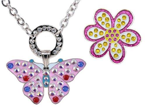 Navika Magnetische Halskette mit Swarovski Kristall pink Butterfly Ballmarker und Glitzy lila Oopsy Daisy Ball Marker