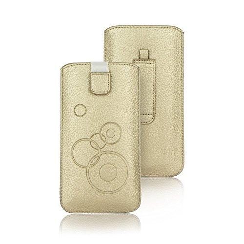 Handytasche Circle Gold geeignet für Alcatel 5, Samsung Galaxy S9 Plus, Apple iPhone XS Max - Handy Tasche Schutz Hülle Slim Case Cover Etui mit Klettverschluss