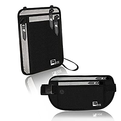 Premium Money Belt + Neck Wallet / Passport Holder (2 item Bundle) with RFID scam blocking technology. Slim, Lightweight & Discreet