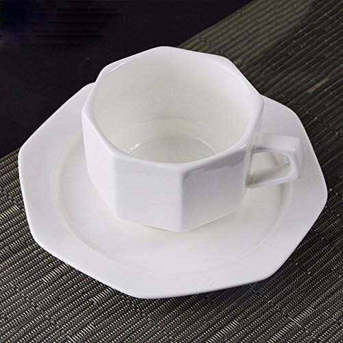 AJUNR-Feine Mode Keramik Achteckig Kaffee Tasse Teller Weiß Keramik Coffee House Tasse Tee Am Nachmittag Schale