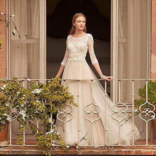 WYEING. Spitzenkleider Lang Spitze Tüll Kristallstickerei 3/4 Ärmellänge Braut Hochzeitskleid,...