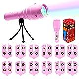 SZRWD Projektor Taschenlampe, Kindertaschenlampe Kinderspielzeug mit 12 Rutschen Muster für Halloween/Weihnachten/Ostern/Geburtstag/Party 12x Filmkarten, Pink