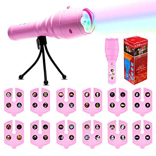 SZRWD Projektor Taschenlampe, Kindertaschenlampe Kinderspielzeug mit 12 Rutschen Muster für Halloween/Weihnachten / Ostern/Geburtstag / Party 12x Filmkarten, Pink