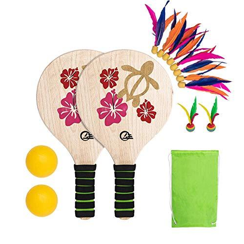 kingpo Beach Paddle Ball Spielset Badmintonschläger Beach Paddel Indoor und Outdoor Badminton Battledore für Kinder Jugendliche Erwachsene Schwimmbad Strand Wasser Spiele