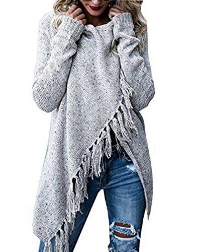 Poncho (ASSKDAN Damen Winter Böhmen Quaste Capes Strickjacke Poncho Pullover Sweater (M, Grau))