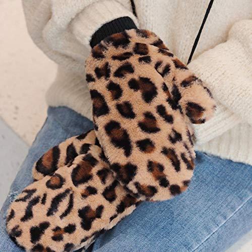Lonfenner Invierno Lindo Nuevo Diseño Estampado De Leopardo Guantes De Invierno Mujeres Gruesas Guantes Cálidos Guantes De Exterior B