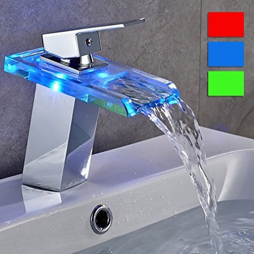 Auralum® LED Bagno Rubinetto, RGB Sensore di Temperatura Glass Design Rubinetti Cartuccia Ceramica, Batteria di 4 aa Richiesto