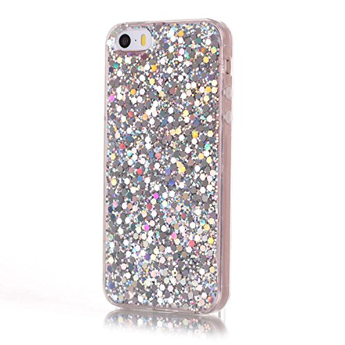 Pour iPhone 5 Coque en Silicone Glitter Bling Etui Housse, SKYXD pour iPhone 5S Cristal Clair Sparkles Gel TPU Bumper Cas Case Cover Couverture Etui pour Apple iPhone 5 / 5S/ SE, Gold Silver