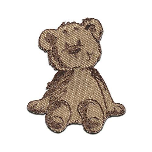 Aufnäher/Bügelbild - Bär sitzt Tier - braun - 5,2x4,6cm - Patch Aufbügler Applikationen zum aufbügeln Applikation Patches Flicken