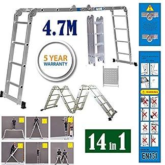 Escalera plegable de aluminio multiusos de 330 libras, escalera de andamio, escalera telescópica profesional, extensible, antideslizante
