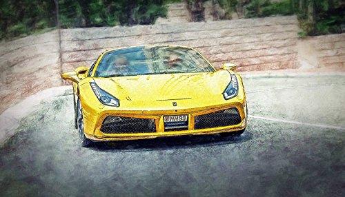 Kunst Druck Bild Ferrari 488 Spider gelb in Kurve Leinwand Poster Tapete Mousepad Aufkleber Platte Schild (63 mal 36 cm, Balsa Holz (12 mm))