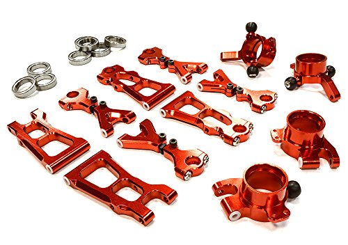Integy RC Model Hop-ups C26306RED Billet Machined Suspension Kit for HPI 1/10 Scale E10 On-Road