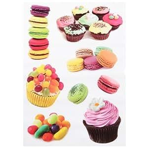 Promobo -Planche 8 Stickers Muraux Autocollant Deco Gourmand Macaron Cupcakes Gateau