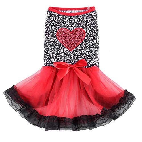 Hundekostüm Prinzessin, Spitze Bestickt Hund Kleid für Hunde Pet Rock Kleidung Supplies,XS