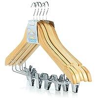 """Hangerworld 45 cm (17.7"""") Hardwood Wooden Coat Garment Hanger with Trouser/Skirt Clips, Pack of 10"""