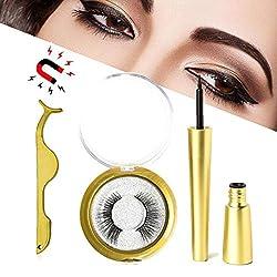 Magnetische Wimpern mit Magnetischen Eyeliner, [2019 Neueste] Professionelles 3D-wasserdichtes, langlebiges Magnet-Eyeliner-Kit mit magnetischen falschen Wimpern und Pinzette zur Verwendung