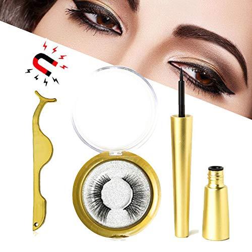 Magnetische Wimpern mit Magnetischen Eyeliner, [2019 Neueste] Professionelles 3D-wasserdichtes, langlebiges Magnet-Eyeliner-Kit mit magnetischen falschen Wimpern und Pinzette zur Verwendung -