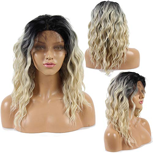 Ivan Cosmetic Bob Wave Halfhand Tied Lace Front Synthetic Wig 2 Tones Ombre Black Roots to Blond 14inch Wig Heat Resistant Wig With Baby Hair Bleached Knot For Women.