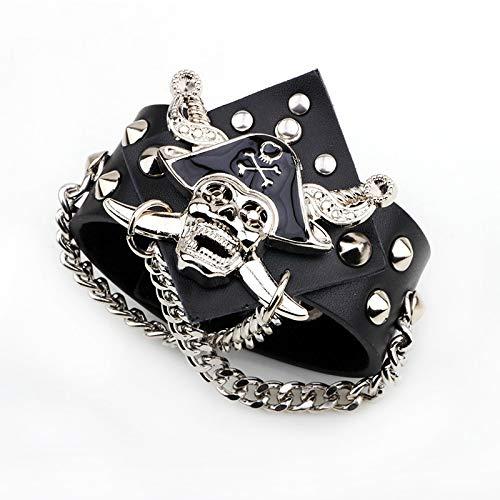 IJEWALRY Damenarmband Armbänder Armband,Mode Persönlichen Punk Wind Schädel Armband Fluch Der Karibik Niet Breit Leder Herren Armband