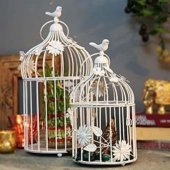 Homesake Bird Cage With Floral Vine (Set Of 2)
