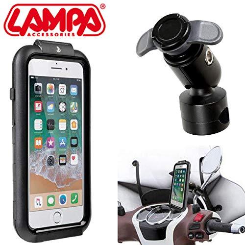 Soporte para Smartphone para teléfono con lámpara 90434 para iPhone 6Plus 7Plus 8Plus + Enganche para Barra de Espejo con chasis travesaños 90438 SYM Moto